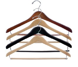 Concave Wooden Suit Hanger with Locking Skirt/Pant Bar