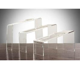 "Beveled Edge Clear Acrylic Shoe Riser Set of Three - 5"", 7"", 9"""