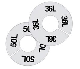 Plastic Size Dividers – Round White, Black Imprinted Long Sizes: 35L - 58L