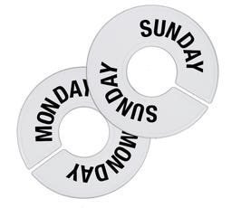 Plastic Size Dividers - Round White - Monday-Saturday Count