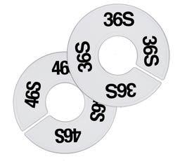 Plastic Size Dividers – Round White, Black Imprinted Short Sizes: 35S - 58S