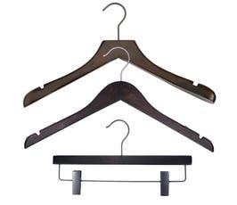 NAHANCO Wood Clothes Hanger Kit - Low Gloss Espresso