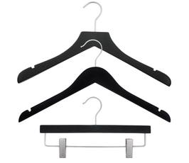 NAHANCO Wood Clothes Hanger Kit - Black Rubberized