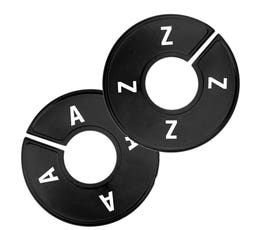 Plastic Size Dividers - Round Black w/White Imprint - A-Z Count