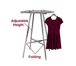 "36"" Round Clothing Rack, Adjustable Height, Foldable -  Chrome"