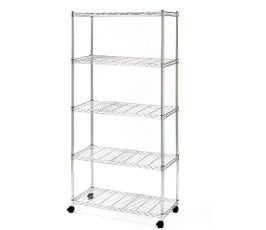 5-Tier Steel Wire Shelving Unit with Wheels, Organize Home or Office, Chrome