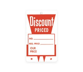 """Discount Priced"" Tags - Small Unstrung - Red/White"
