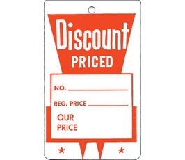 """Discount Priced"" Tags - Large Unstrung - Red/White"