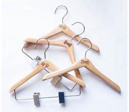 "8"" Engraved Bone or Paw Print Wooden Pet Hangers, Natural"