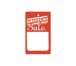 """Clearance"" Tags - Small Unstrung - Red/White"