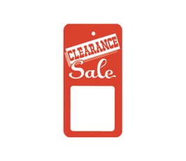 """Clearance"" Tags - Large Unstrung - Red/White"