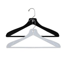 Plastic Suit Hangers, Flat with Attached Pant Bar - 17""