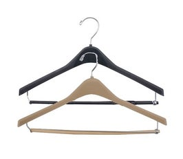 "Plastic Suit Hangers, Concave with Round or Square Hook and Locking Pant Bar 17""-18"""