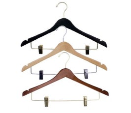 """17"""" Notched Concave Wooden Suit Hanger"""