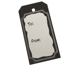 White Chalk Board with To/From Pre-Printed Tags, Unstrung - Large