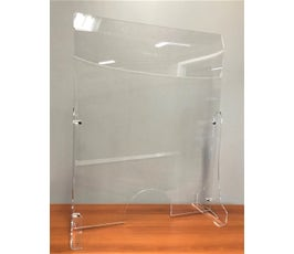 "Freestanding Counter Barrier, Sneeze Guard for Customers and Workers, Protective Shield with Passing Hole, Space Saving Supports on Ends, 23 ¾"" W X 31"" H – Clear Acrylic"