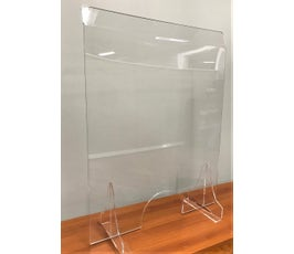 "Freestanding Counter Barrier, Sneeze Guard for Customers and Workers, Protective Shield with Passing Hole, 23 ¾"" W X 31"" H – Clear Acrylic"