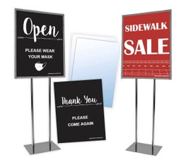 Floor Standing Sign Kit with Metal Sign Holder, 2 Clear Sign Protectors, and Your Choice of Sign