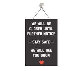"""Closed Sign, Red and Black, COVID-19,  Metal Sign Kit, 12""""H x 8""""W"""