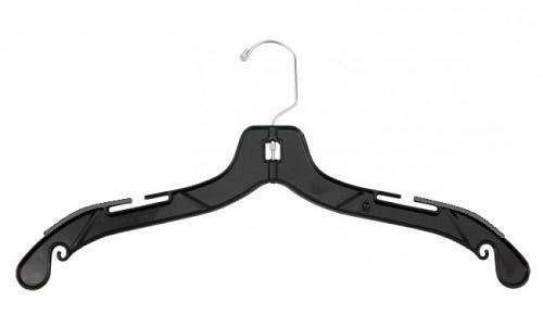 "17"" Plastic Shirt/Dress Hanger, Heavy Weight, Black w/ Grey Non-Slip Foam Strips"