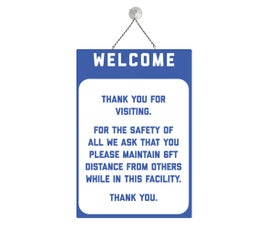 """Welcome, Social Distancing, Blue and White, COVID-19,  Metal Sign Kit, 12""""H x 8""""W"""