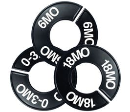 Plastic Size Dividers w/Larger Cut Out – Round Black, Imprinted Infant Sizes: 3-18MO