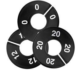 Plastic Size Dividers - Round Black, Imprinted Numerical Sizes: 0 - 64