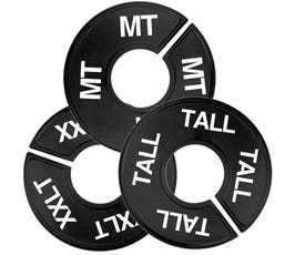 Plastic Size Dividers – Round Black, Imprinted Tall Sizes: MT - 3XT