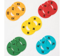 Colorful Round Clothing Size Dividers for Home Closets or Clothing Stores, 5 Mixed Colors, Black Print; XS-XL Kit (5 Sizes, 2 pcs. each)
