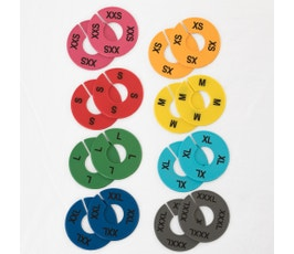 Colorful Round Clothing Size Dividers for Home Closets or Clothing Stores, 8 Mixed Colors, Black Print; XXS-XXXL Kit (8 Sizes, 2 pcs. each)