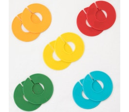 Colorful Round Clothing Size Dividers for Home Closets or Clothing Stores, 5 Mixed Colors - Blank (Kit of 10)