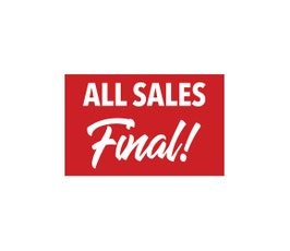 "Card Stock Display Card, ""All Sales Final""  Red and White- Select Size"