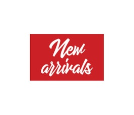 "Card Stock Display Card, ""New Arrivals"" Red and White -Script- Select Size"