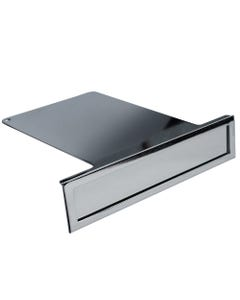 High Polished Chrome Metal Shelf Overlay Retail Sign with Framed Frontplate