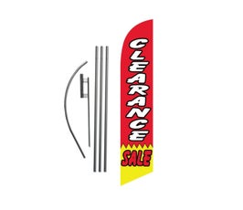 CLEARANCE Sale Feather Banner Swooper Flag Kit Sign with 15 ft Pole and Ground Spike -  Red/White/Yellow