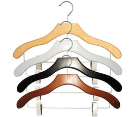 Contemporary Series Wooden Coordinate Hanger with Euro Clips - 50/CTN