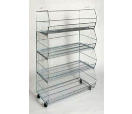 4-Tier Stacking Baskets with Casters, Chrome