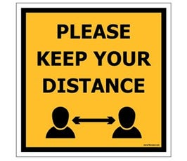 "Safe Distance Floor Marker, 8"" X 8"", One Each"