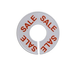 White, Round Clothing Rack Size Dividers with Red Print – SALE, 25/CTN.