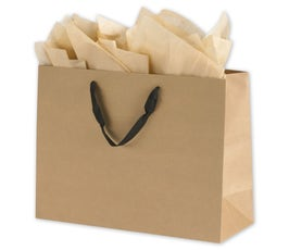 Eco Euro Shopping Bags - Large - Kraft w/ black handles