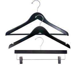 Economy Wood Clothes Hanger Kit - Black w/Chrome Hardware