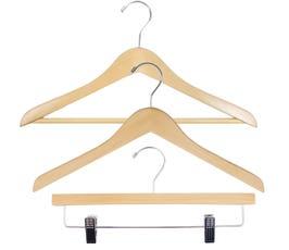 Economy Wood Clothes Hanger Kit - Natural w/Chrome Hardware