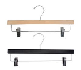 Wooden Skirt/Pant Hangers with Chrome Hardware - Flat - 14""
