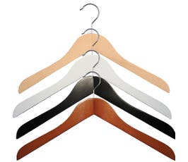 "Wooden Shirt Hangers - ""Executive Series"" - 17"" - 25/CTN"