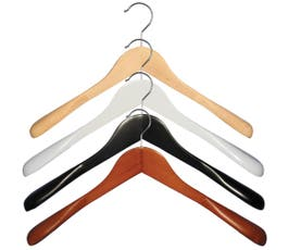 "Wooden Jacket Hangers - ""Executive Flare"" - 18""- 12/CTN"