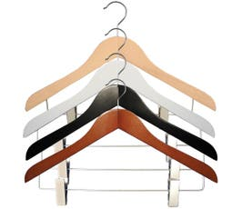 "17 ½"" Wooden Executive Suit Hangers with Clips - 25/CTN"