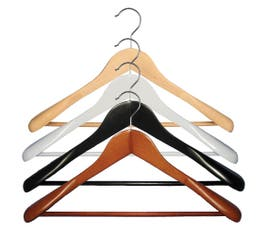 "Executive Flare Line, Wooden Suit Hanger with Stationary Bar, 18"" – 25/CTN."