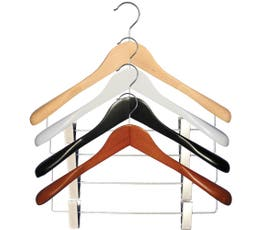 "Executive Flare Line, Wooden Suit Hangers with Clips, 18"" - 12/CTN"