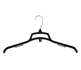 """Plastic Flocked Shirt Hanger with Cut Out Top and Reinforced Supports, 17"""" - Black"""