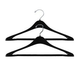 "Plastic Suit Hangers, Concave w/Round or Square Hook, Attached Pant Bar - 17""-19"" Black"